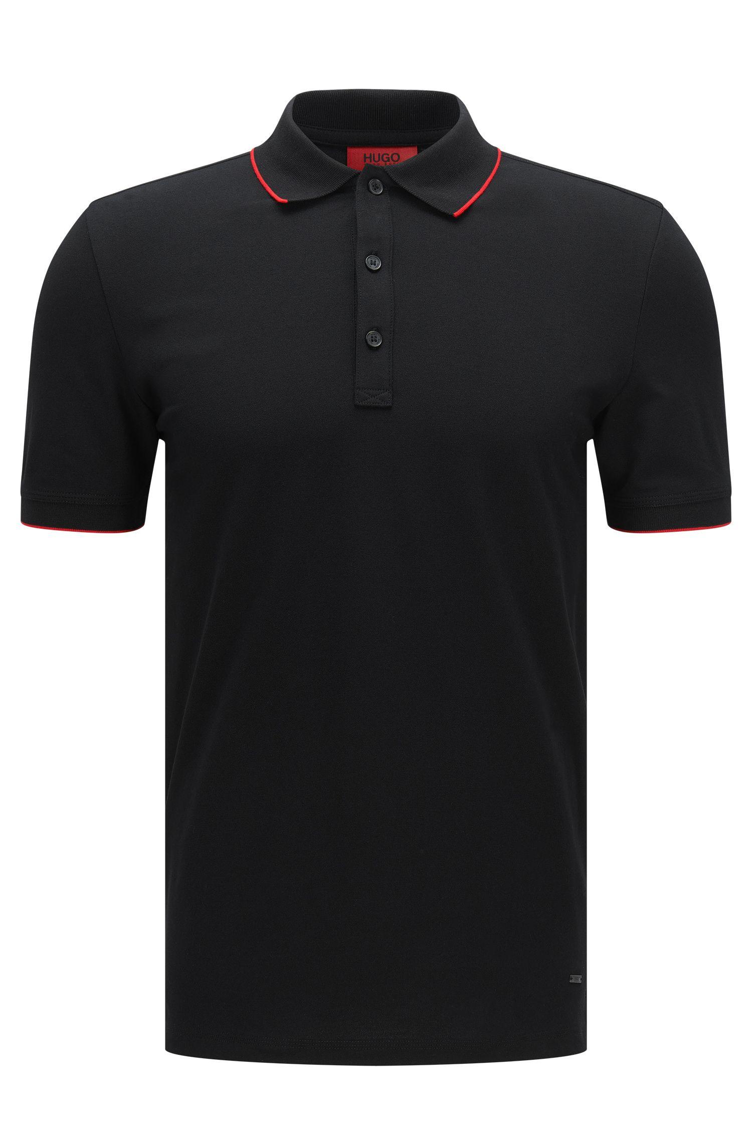Polo slim fit en algodón elástico con rayas contrastadas: 'Delorian'