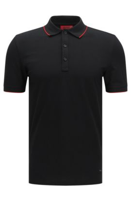 Slim-fit polo shirt in stretch cotton with contrasting stripes: 'Delorian', Black