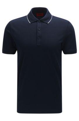 Polo slim fit in cotone elasticizzato con righe a contrasto: 'Delorian', Blu scuro