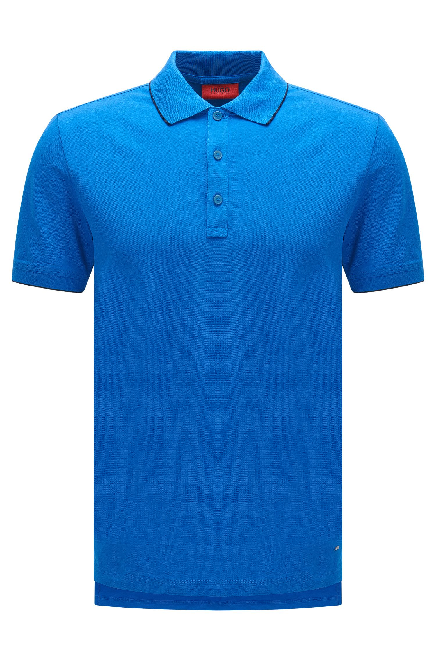 Slim-fit polo shirt in stretch cotton with contrasting stripes: 'Delorian'
