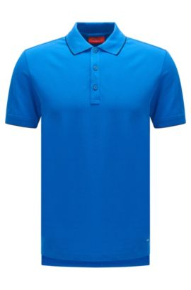 Slim-fit polo shirt in stretch cotton with contrasting stripes: 'Delorian', Blue