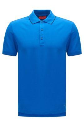 Slim-Fit Poloshirt aus Stretch-Baumwolle mit Kontrast-Streifen: 'Delorian', Blau