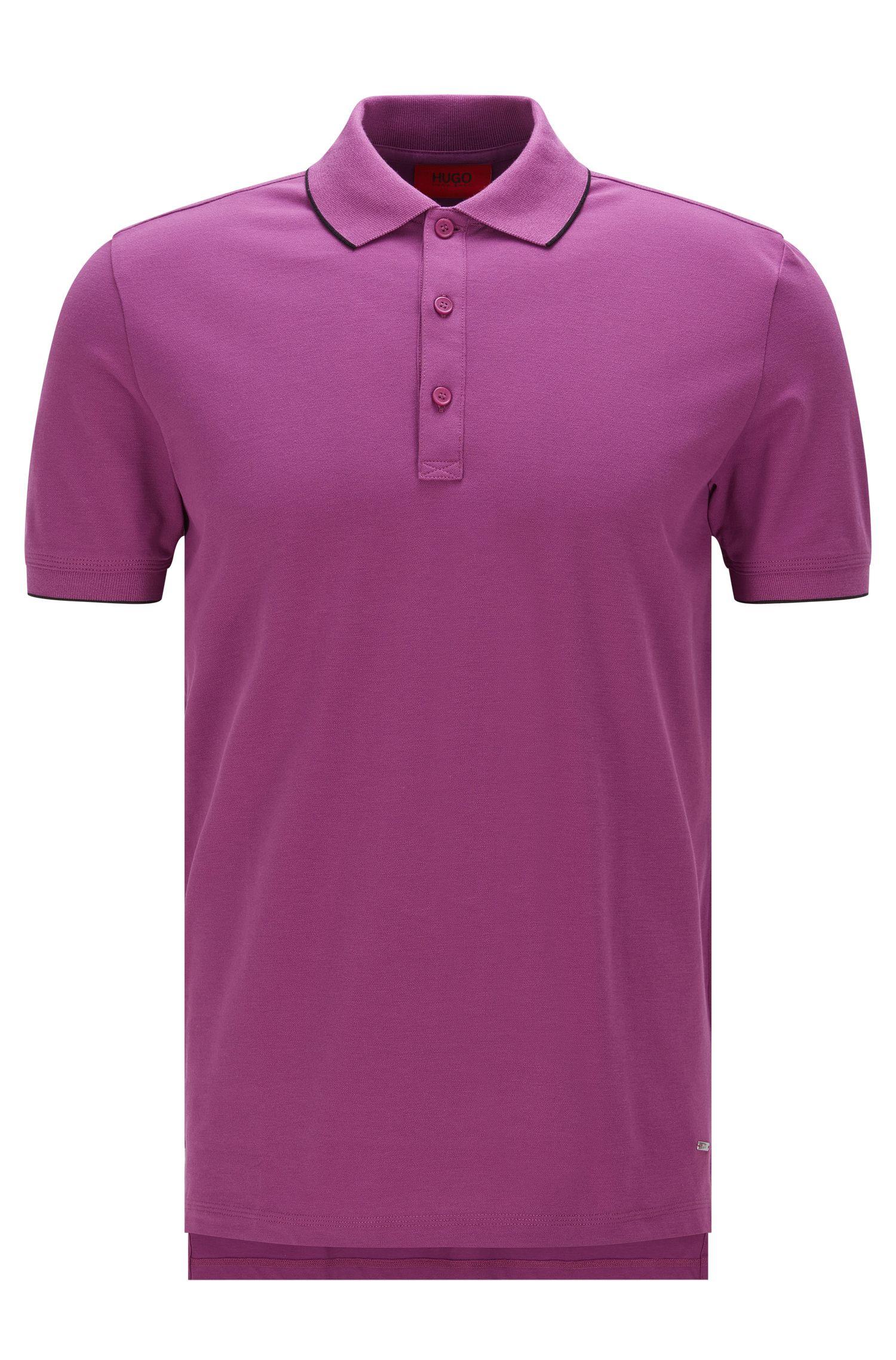 Slim-Fit Poloshirt aus Stretch-Baumwolle mit Kontrast-Streifen: 'Delorian'