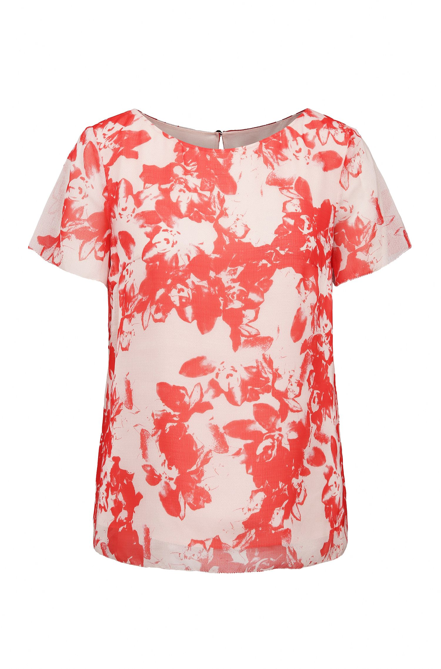 Regular-Fit Shirt aus Material-Mix mit Blumen-Print: ´Kablocky`