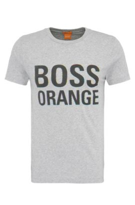 Camiseta slim fit en algodón con etiqueta estampada: 'Tacket 5', Gris