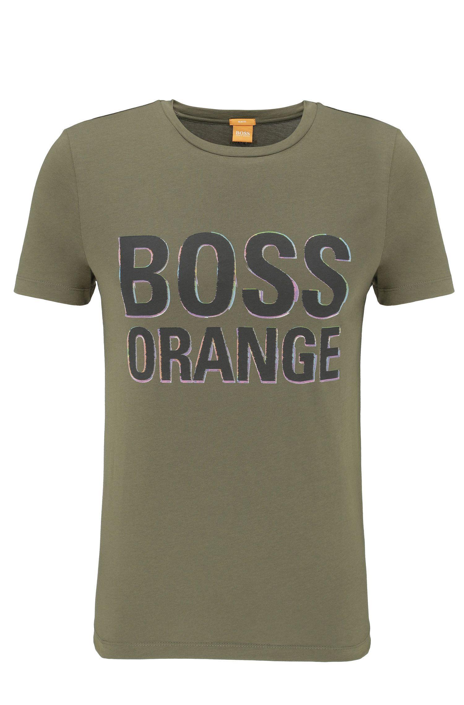 Slim-fit T-shirt van katoen met logoprint: 'Tacket 5'