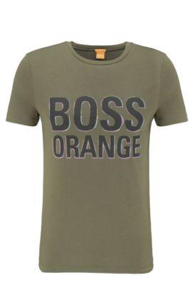 Slim-Fit T-Shirt aus Baumwolle mit Label-Print: ´Tacket 5`, Dunkelgrün