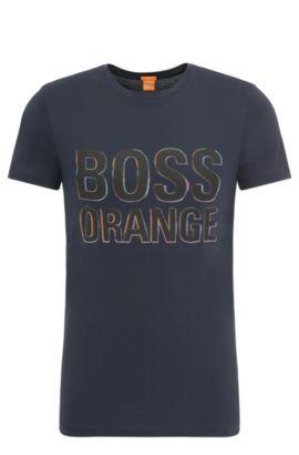 Camiseta slim fit en algodón con etiqueta estampada: 'Tacket 5', Azul oscuro
