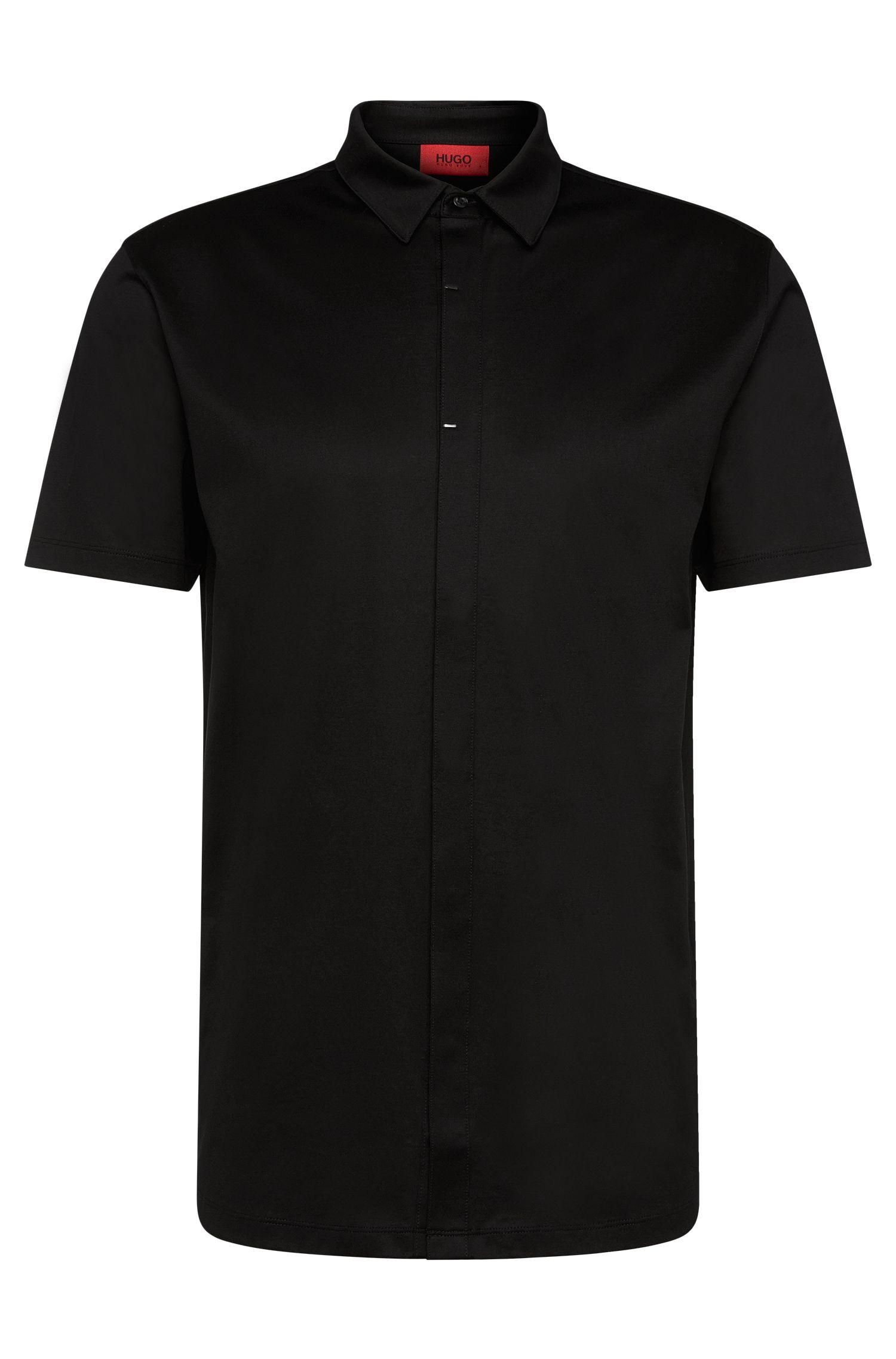 Overhemd met korte mouwen en een verdekte knoopsluiting van gemerceriseerde katoen: 'Daltos'