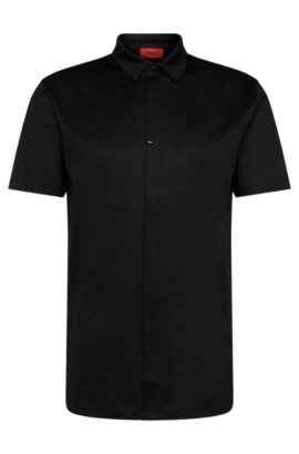 Short-sleeved shirt in mercerised cotton with a concealed button placket: 'Daltos', Black