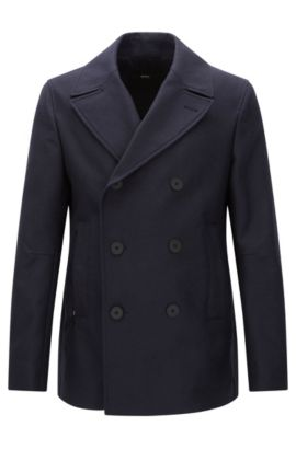Cappotto corto slim fit in cotone impermeabile: 'Namid', Blu scuro