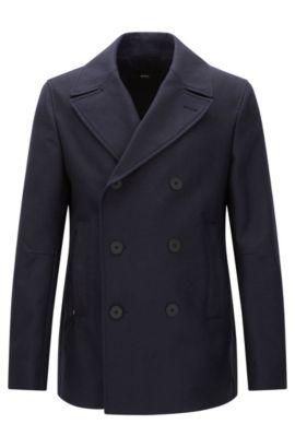 Water-repellent slim-fit short coat in cotton: 'Namid', Dark Blue