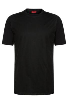 Camiseta regular fit en mezcla de algodón con ribete de malla: 'Dalone', Negro