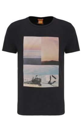 T-shirt stampata in cotone: 'Tacket 3', Nero