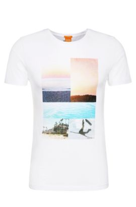 Print t-shirt in cotton: 'Tacket 3', White