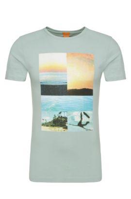 Camiseta estampada en algodón: 'Tacket 3', Turquesa
