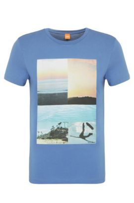 T-shirt imprimé en coton: «Tacket 3», Bleu vif