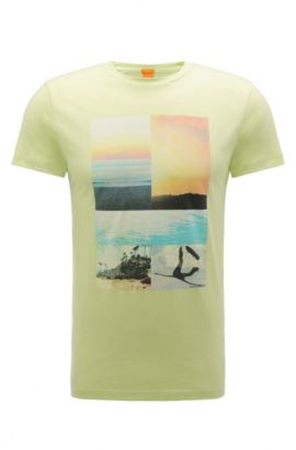 Print t-shirt in cotton: 'Tacket 3', Light Yellow