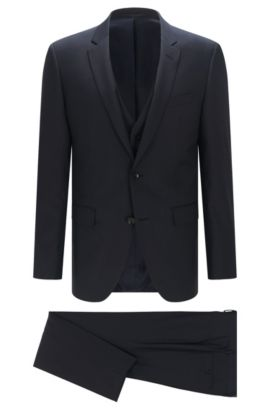 Slim-fit Tailored suit in new wool: 'T-Harvers2/Glover1WE3', Dark Blue