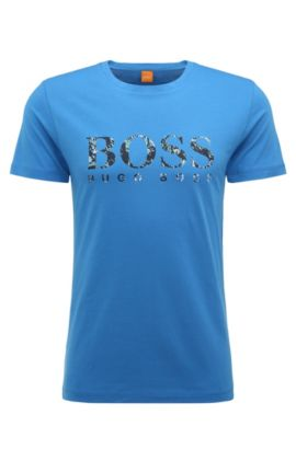 Camiseta de punto regular fit en algodón con logo estampado: 'Tacket 1', Azul