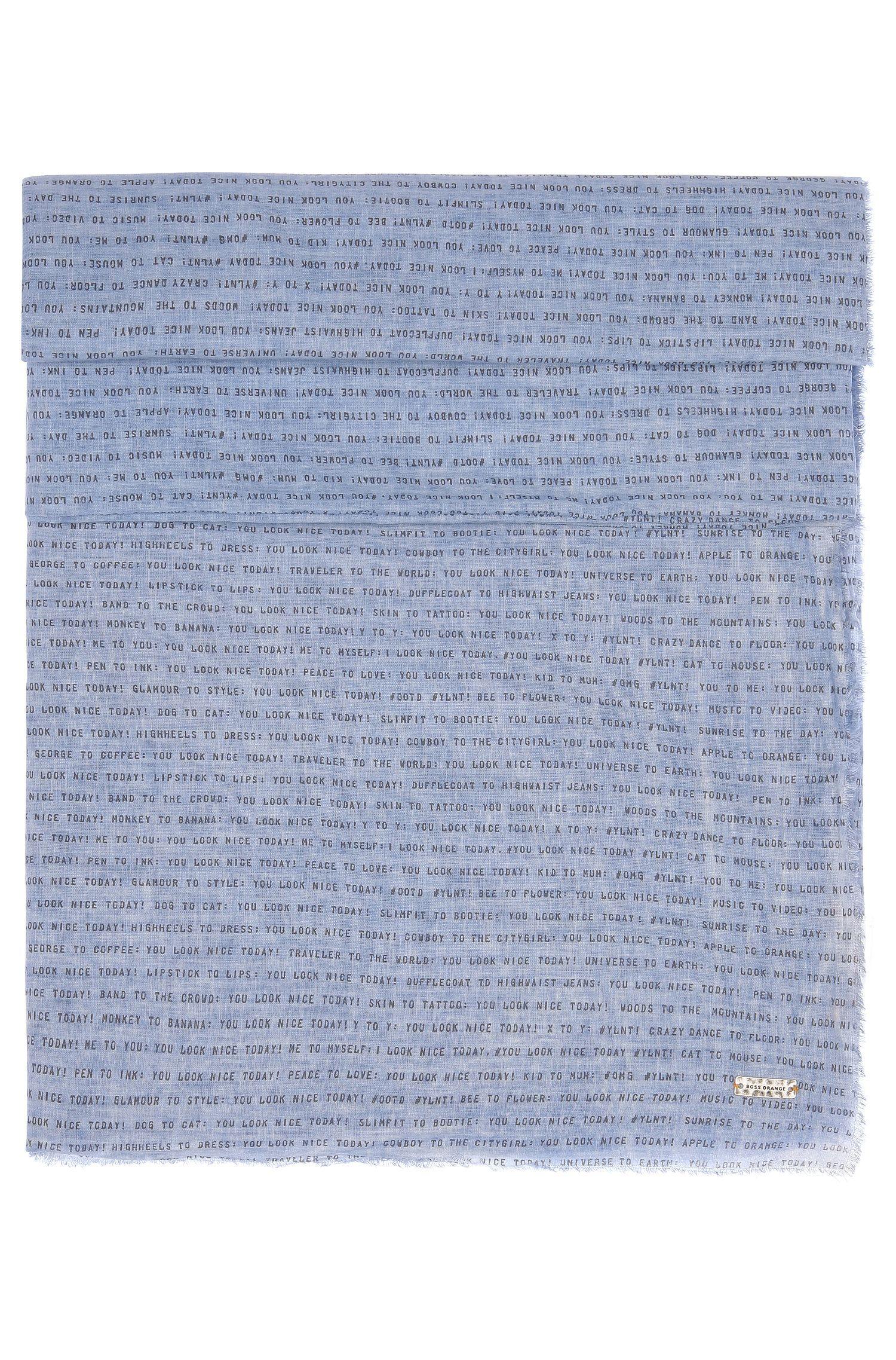 Sjaal van lichte katoen met sloganprint