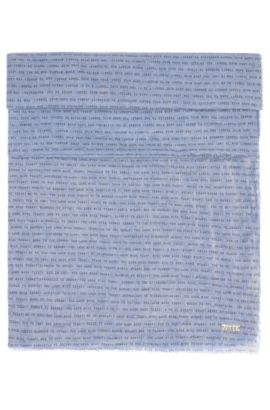 Slogan-print scarf in lightweight cotton, Dark Blue