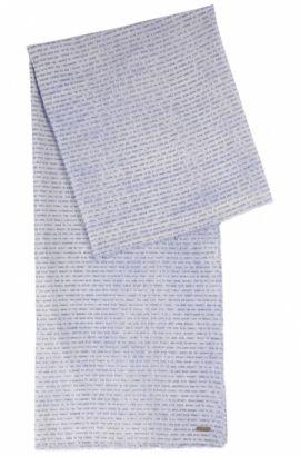 Écharpe à imprimé slogan en coton léger, Bleu vif