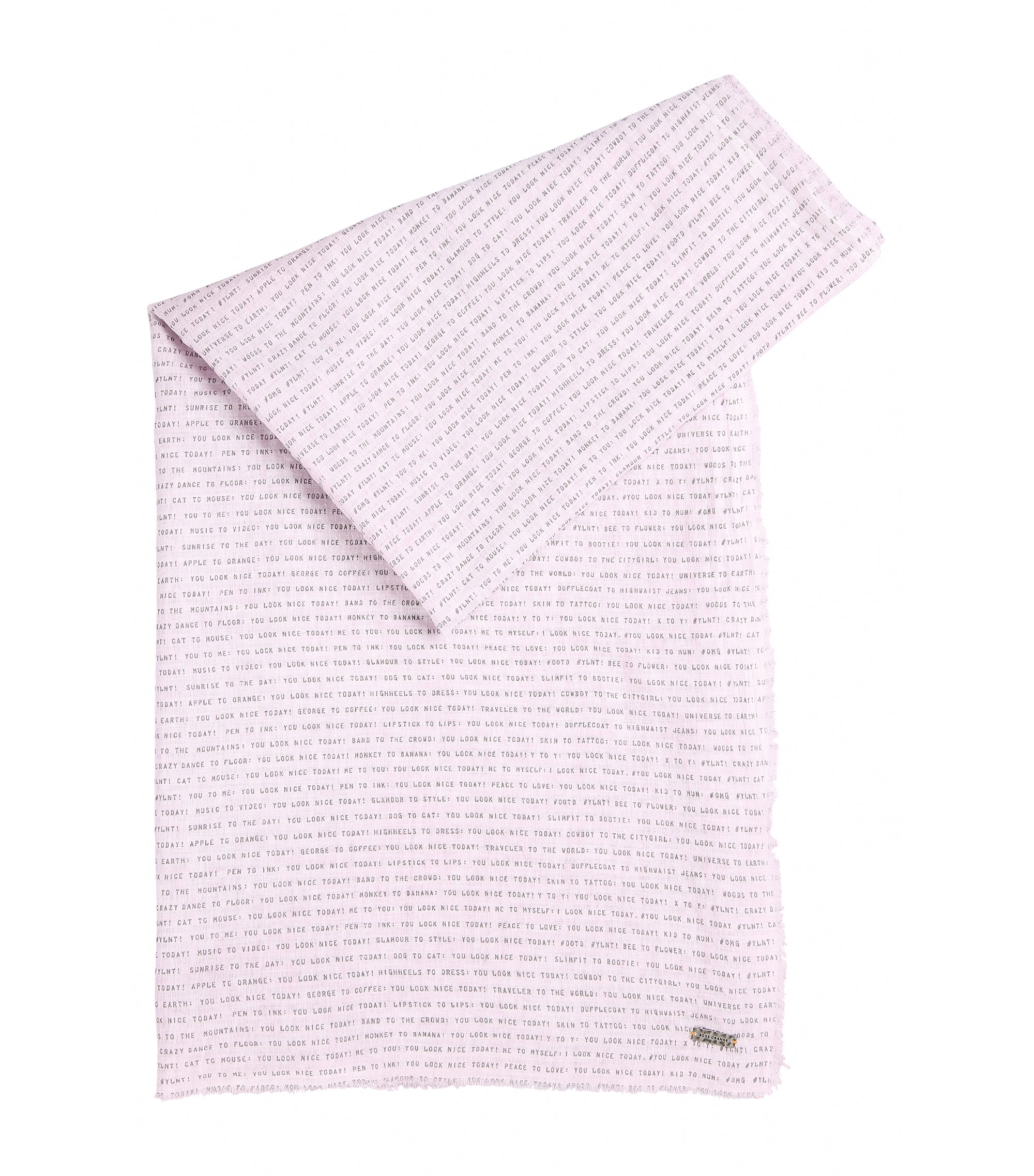 Slogan-print scarf in lightweight cotton, Light Purple