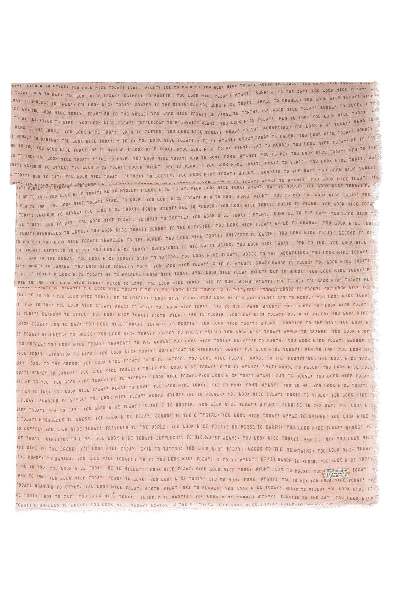 Sciarpa con testo stampato in cotone leggero