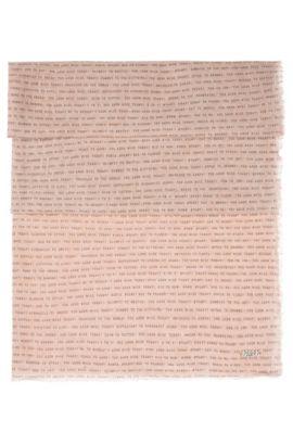 Sjaal van lichte katoen met sloganprint, Lichtroze