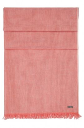 Lightweight cotton scarf with short fringes: 'Naneoblock', Red