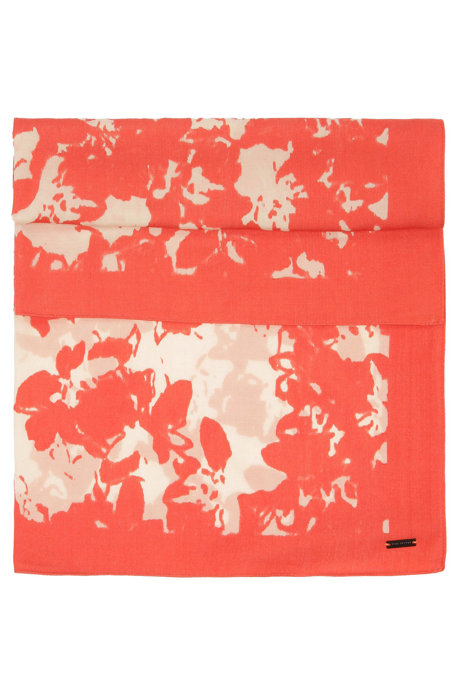 Material blend scarf with floral pattern: 'Naflown'