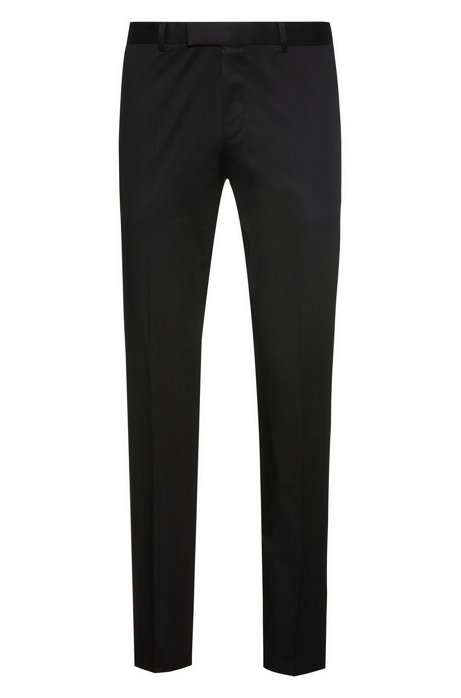 Pantalon Extra Slim Fit en coton Oxford stretch, Noir
