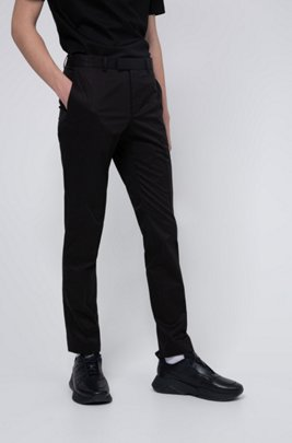 Extra-slim-fit trousers in stretch Oxford cotton, Black