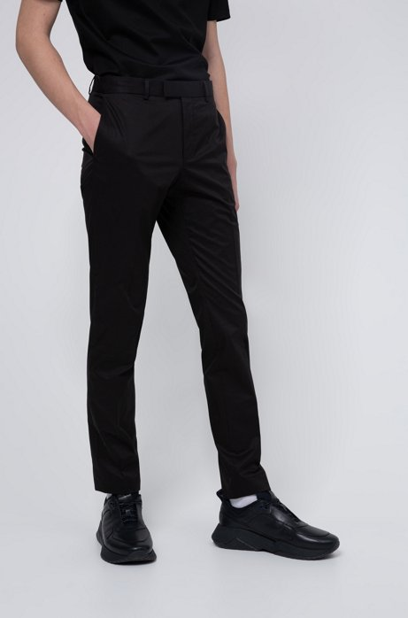 Pantalon Extra Slim Fit en coton Oxford stretch, Noir