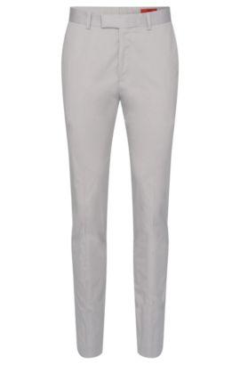 Pantaloni extra slim fit in cotone elasticizzato con pieghe: 'Heiron', Grigio chiaro