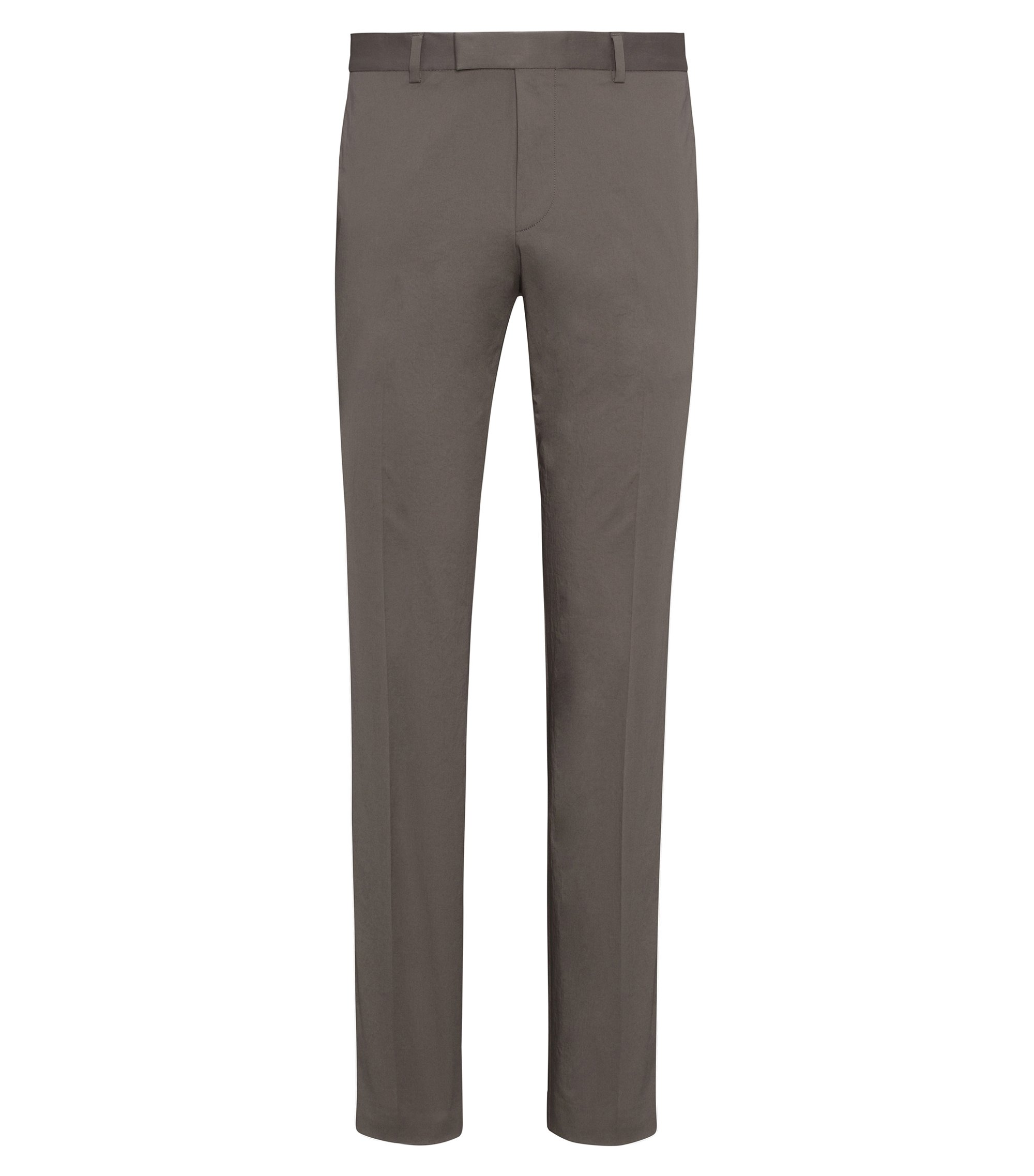 Pantalon Extra Slim Fit en coton Oxford stretch, Marron