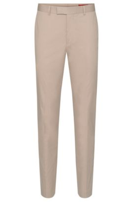 Extra slim-fit trousers in stretch cotton with pressed creases: 'Heiron', Beige