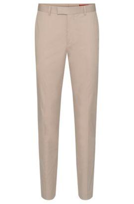Pantaloni extra slim fit in cotone elasticizzato con pieghe: 'Heiron', Beige