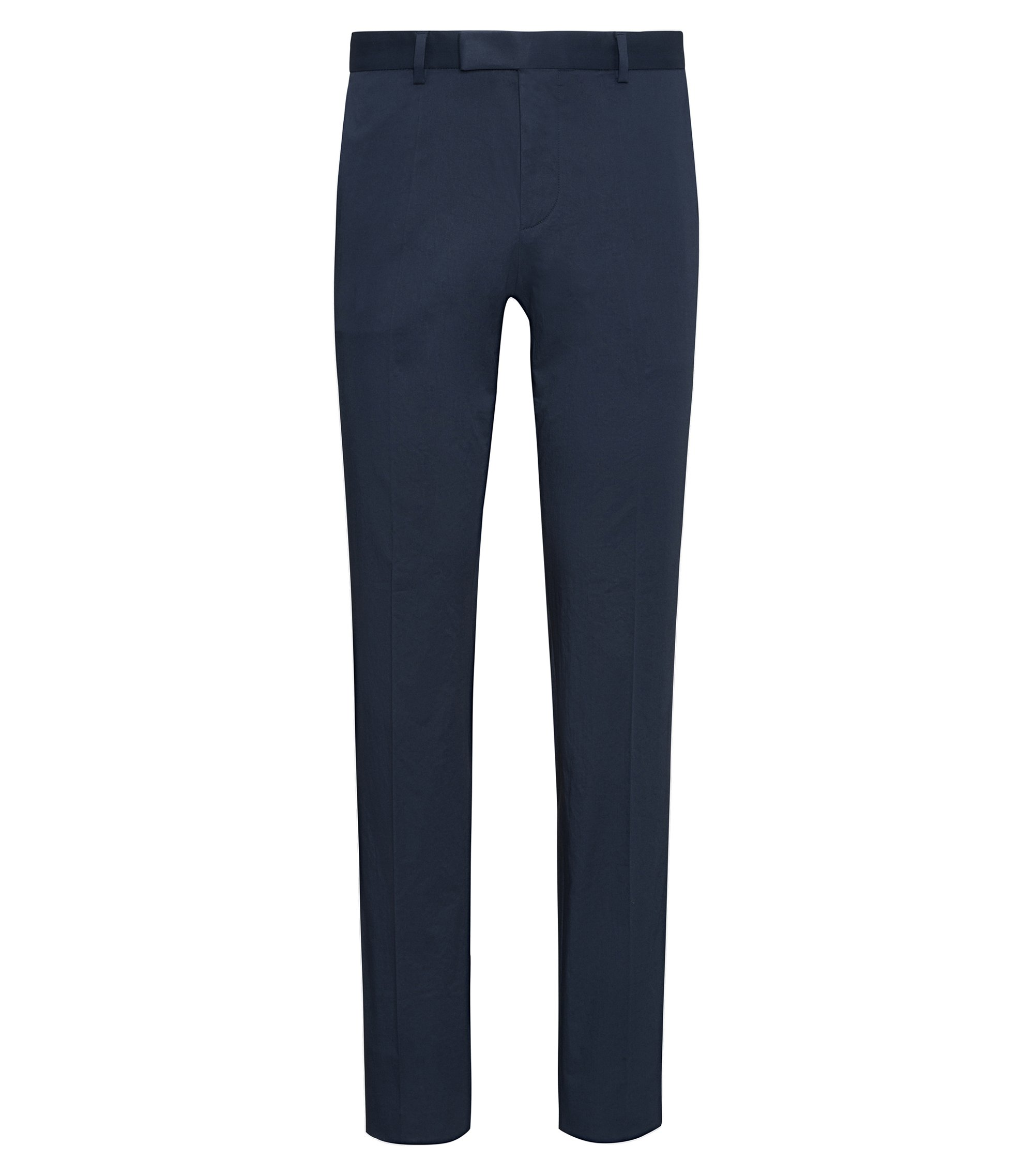 Pantalon Extra Slim Fit en coton Oxford stretch, Bleu foncé