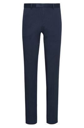 Pantaloni extra slim fit in cotone elasticizzato con pieghe: 'Heiron', Blu scuro