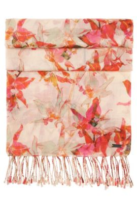 Floral scarf in cotton blend with modal: 'Nasianna', Patterned
