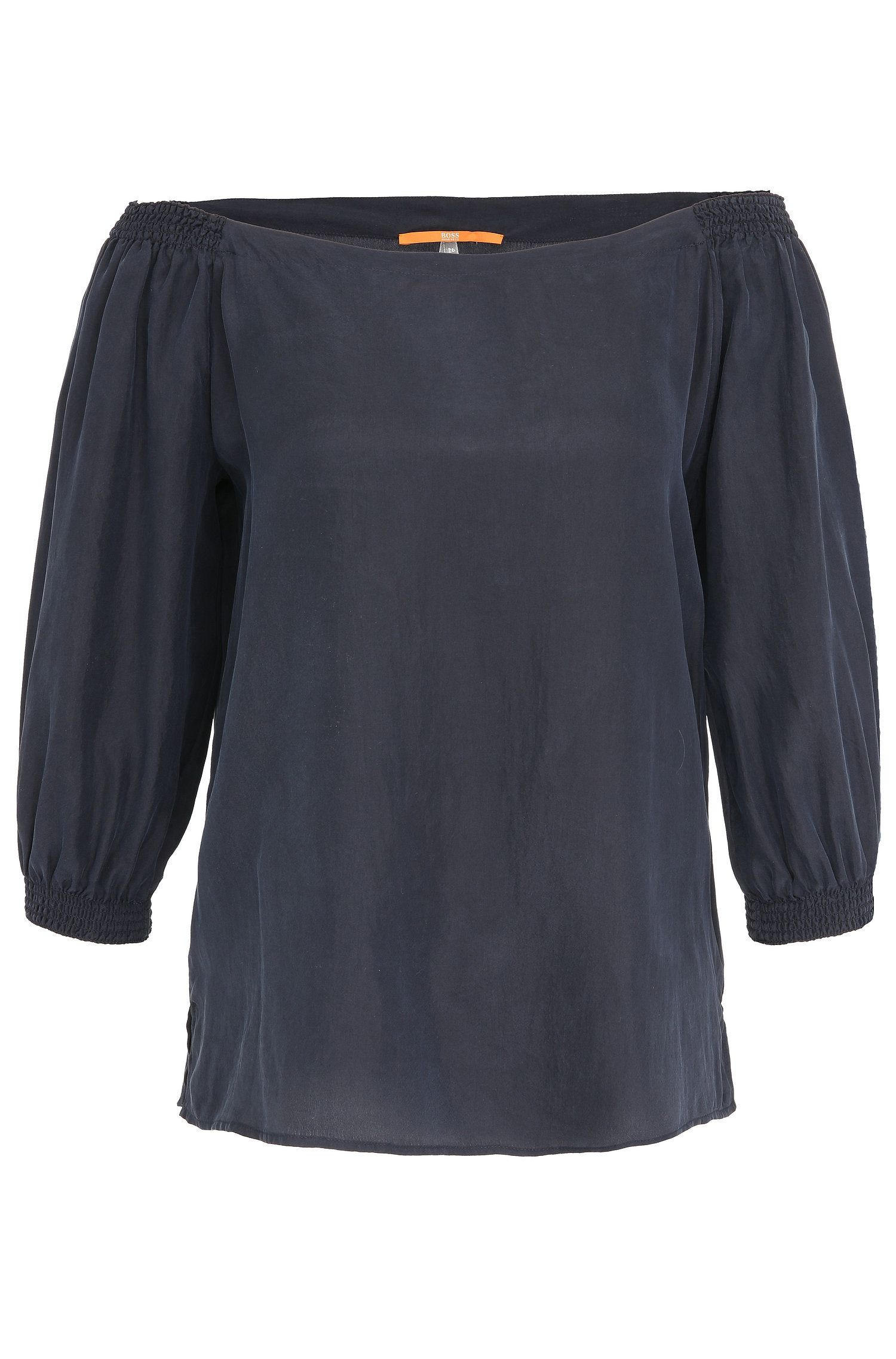 Regular-fit blouse in pure silk with off-the-shoulder neckline: 'Eroi'