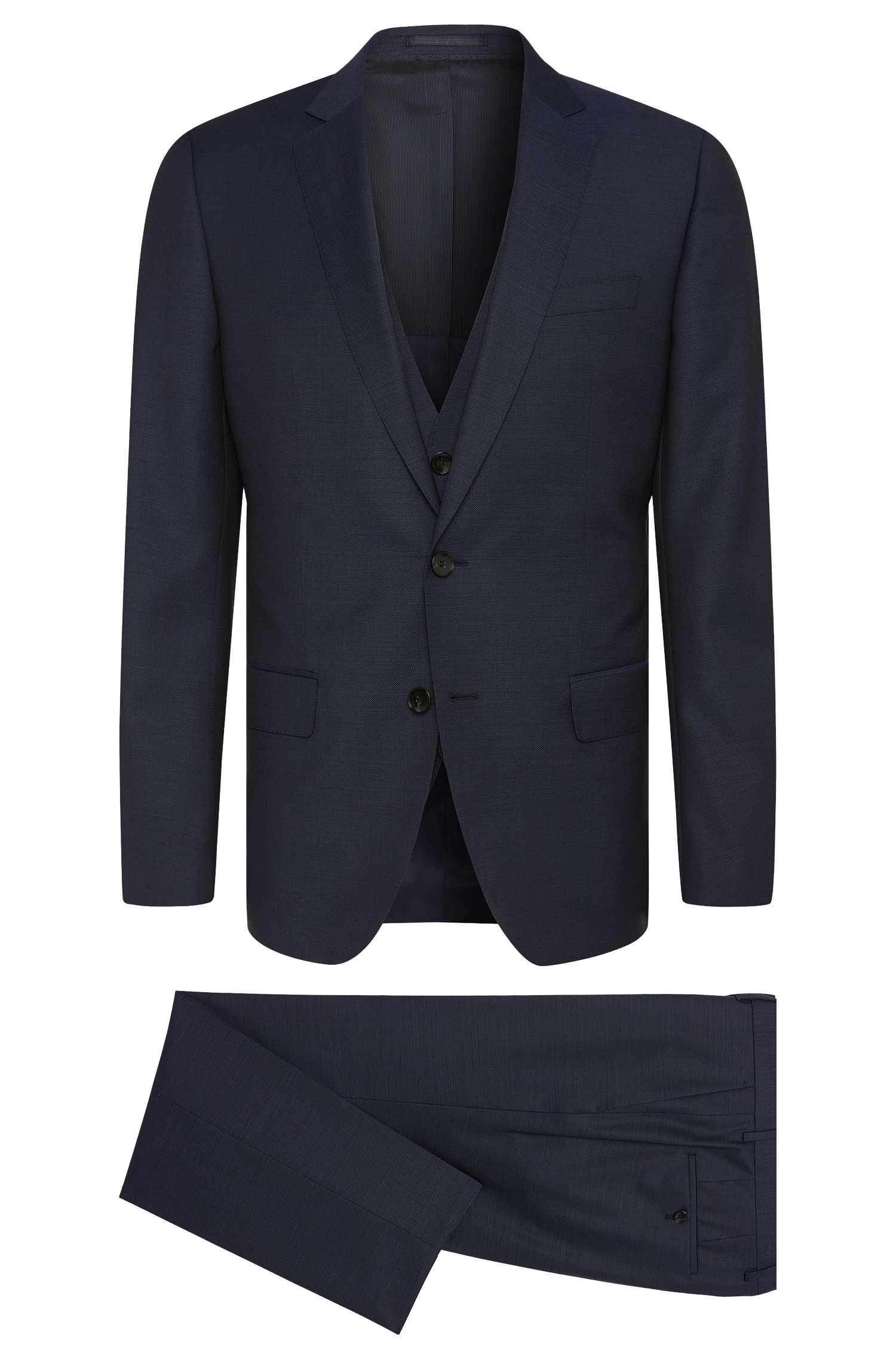 Slim-fit suit in textured new wool with waistcoat: 'Huge5/Genius3 WE'