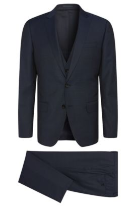 Slim-fit suit in textured new wool with waistcoat: 'Huge5/Genius3 WE', Dark Blue