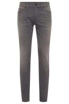Slim-fit cotton-blend jeans with subtle used-look wash: 'Delaware3-1', Dark Grey