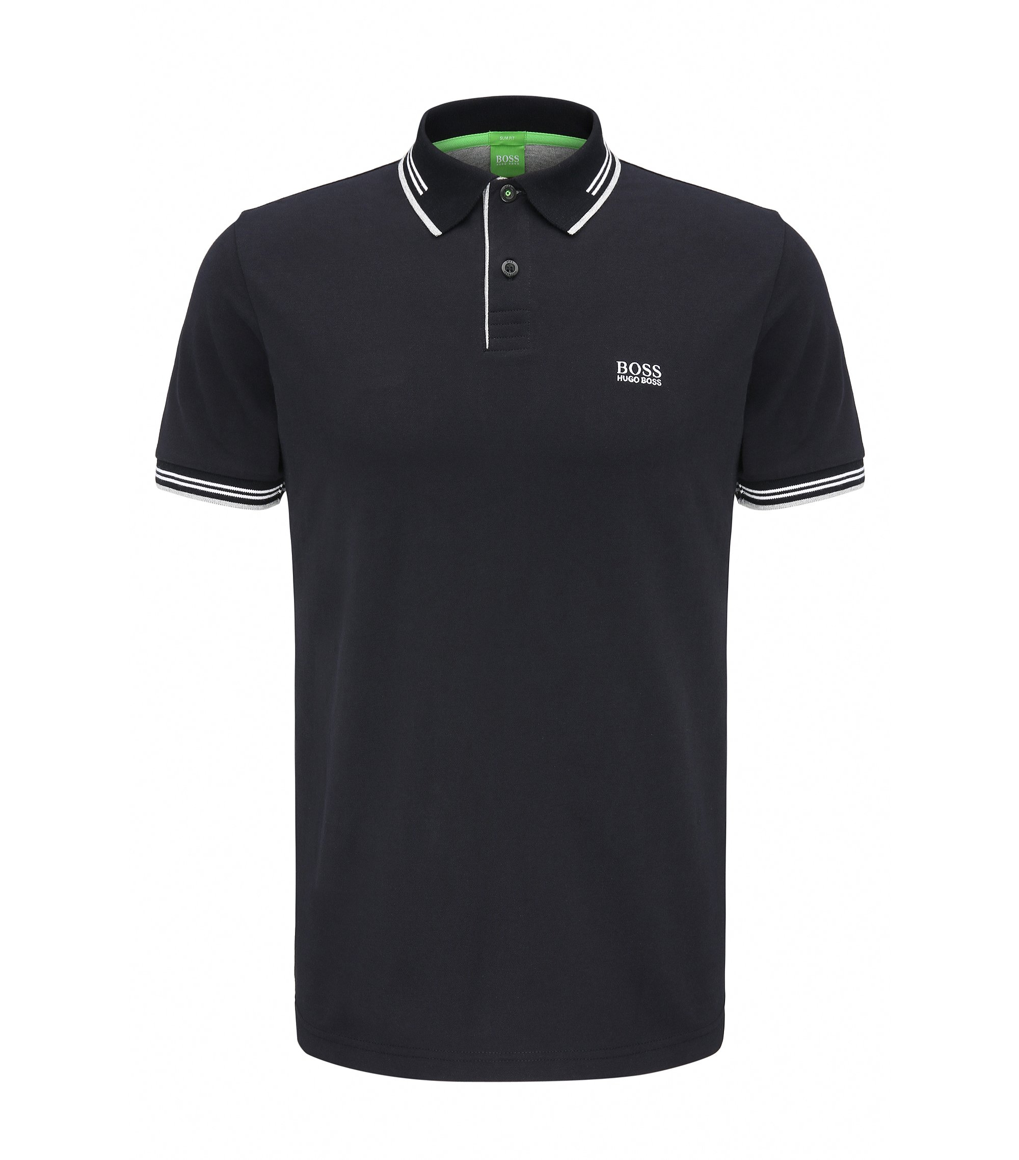 Slim-fit stretch-cotton polo shirt with contrast tipping, Black