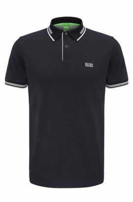 Slim-Fit Poloshirt aus elastischer Baumwolle , Schwarz