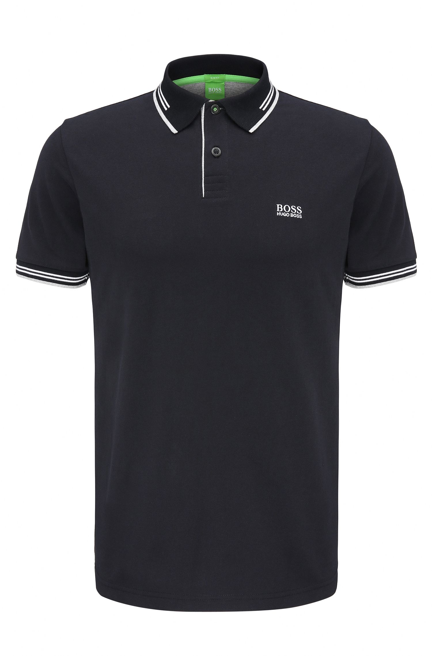 Slim-fit stretch-cotton polo shirt with contrast tipping