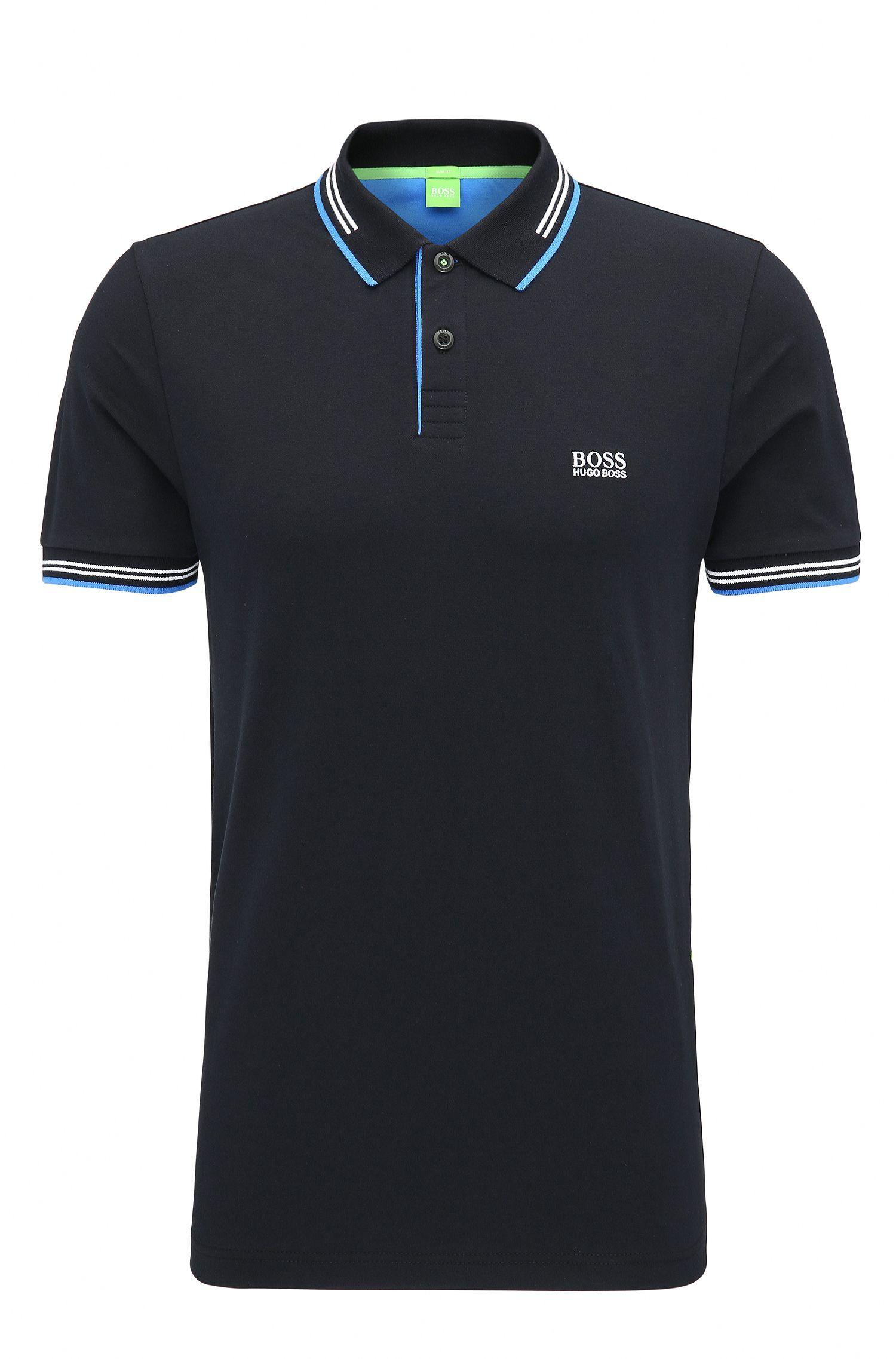 Slim-Fit Poloshirt aus elastischer Baumwolle mit kontrastfarbener Einfassung